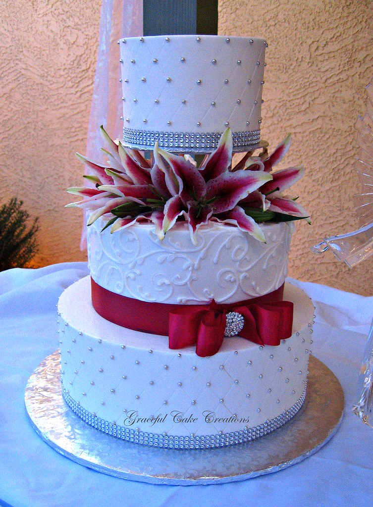 Elegant White Buttercream Wedding Cake with Silver and Red  Flickr