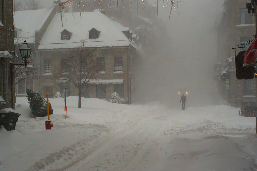 Old Montreal in the snow storm  Taken in Montreal on a
