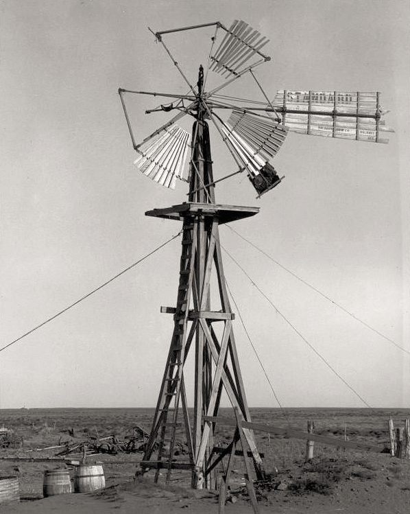 Drought years. Texas Panhandle. Windmill. Dorothea Lange (photographer) 1938