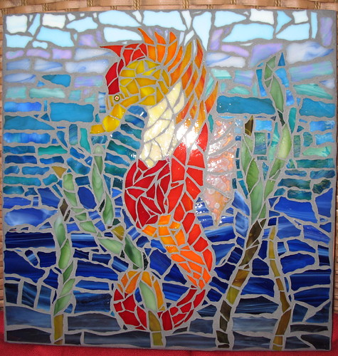 Seahorse Stained Glass Mosaic on cement stepping stone