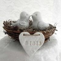 Wedding Cake Topper, White Shabby Chic Love Birds in Nest ...