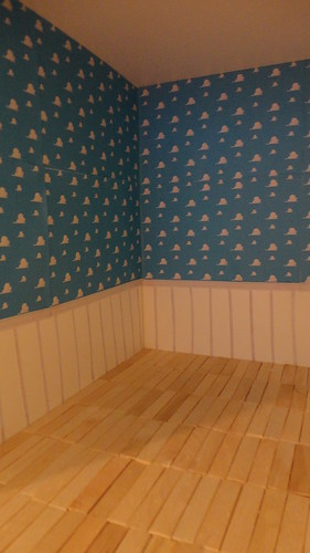 andys room in progress  printed cloud wallpaper hard