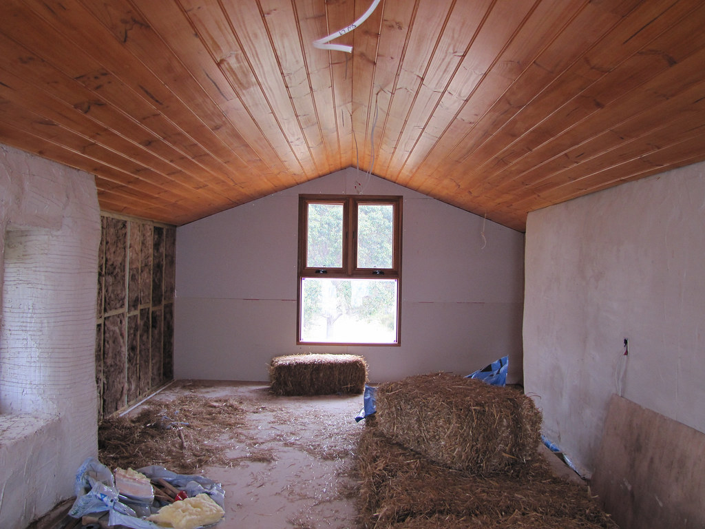 Pine Ceiling in Attic  Strawbale House Build in Redmond W