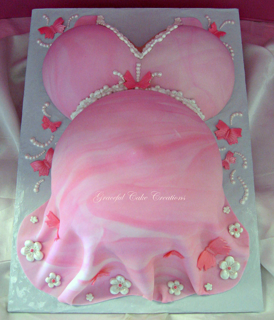 Pink Baby Bump Baby Shower Cake with Butterflies and Flowe  Flickr
