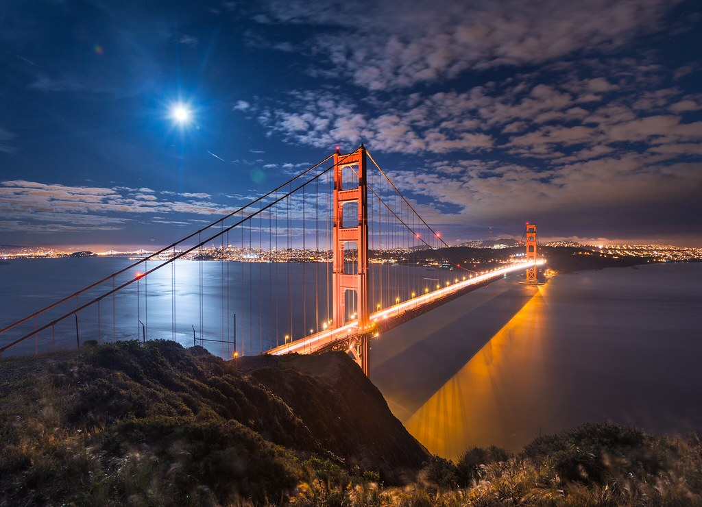 49ers 3d Wallpaper Moonlight Bridge Wide Angle Long Exposure Hdr From The