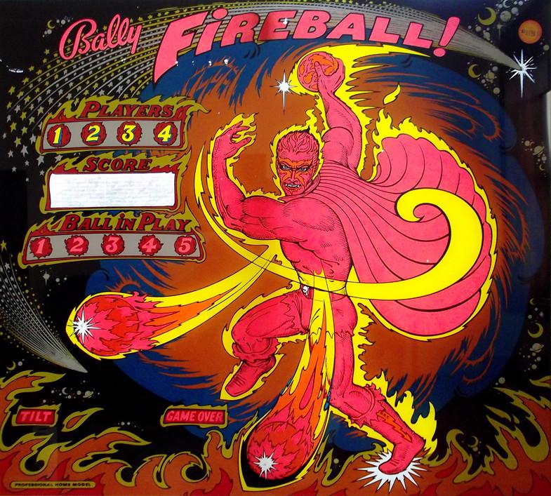 1977 Bally Fireball Home Version Pinball Machine Backglas