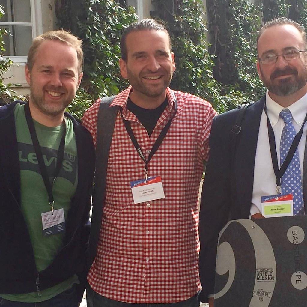 Geoff Chalmers, Jason Heath, and Adam Booker in the HAMU courtyard