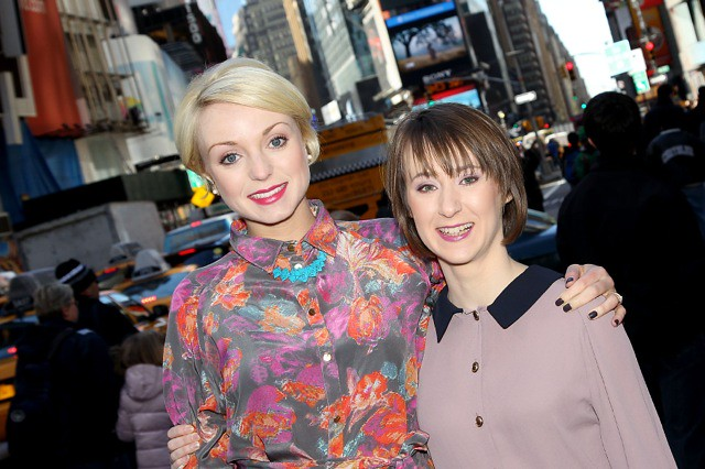 Helen George and Bryony Hannah in Times Square  Helen