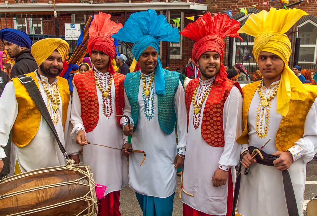 Sikh Dhol Drummers in marvellous costumes taking part in t