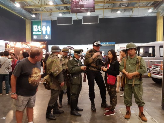 Cosplaying as soldiers from WWII