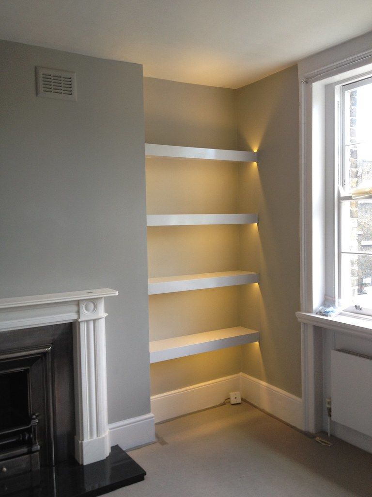 alcove shelving with LED lights  Cynthia Donnell  Flickr