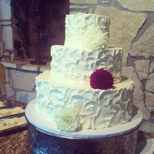 Rustic Three Tier Buttercream Wedding Cake Austin Custom