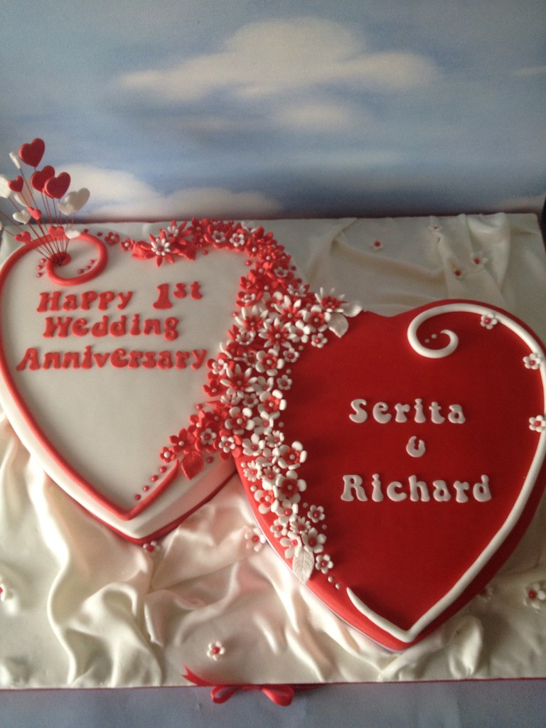 1st Wedding Anniversary Double Hearts Cake I Did This