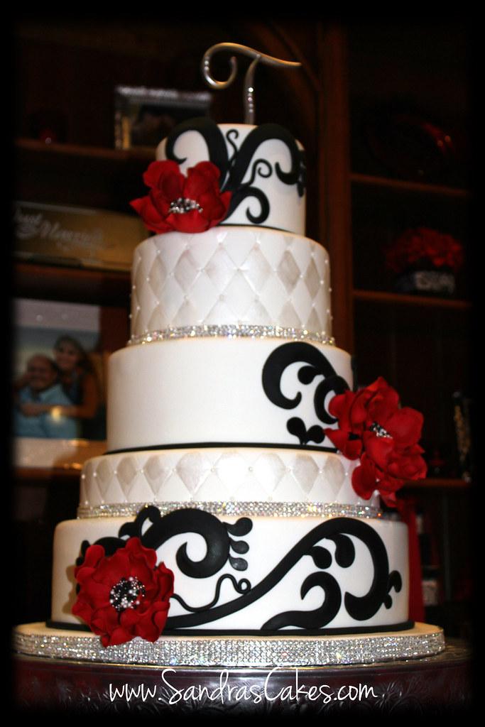 Elegant Black Red And White Wedding Cake Sandra Durbin