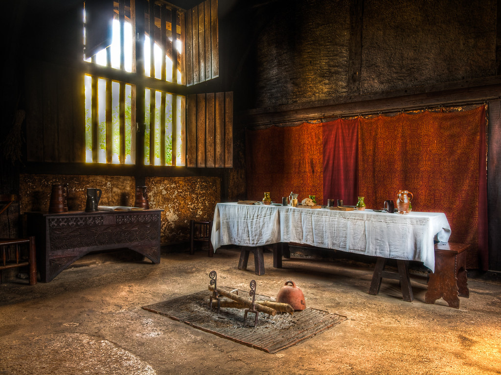The main hall of the 15th century Bayleaf Farmhouse at the