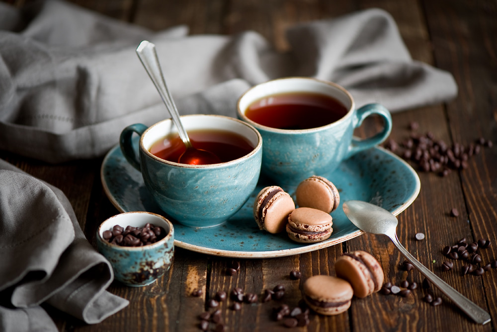 Cute Macaroons Hd Wallpaper Breakfast With Tea And Chocolate Macarons Anna Verdina