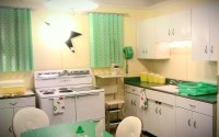 Mint Green, White, and Yellow MCM Kitchen | This beautiful ...