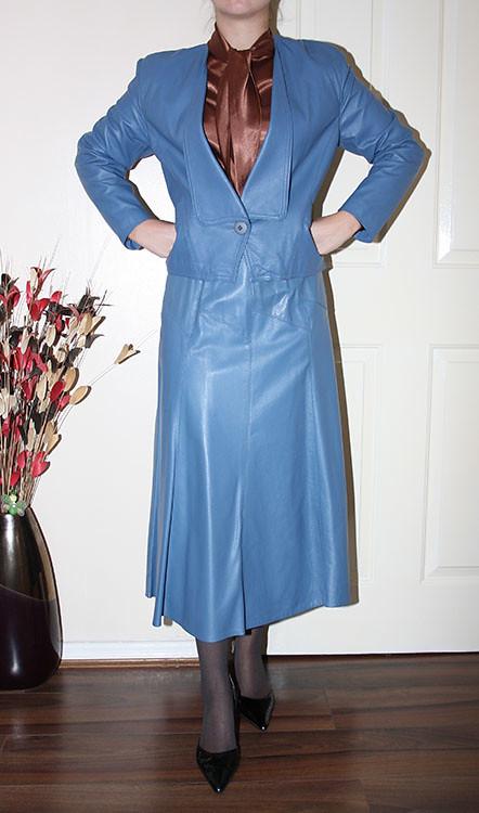 vintage blue leather governess skirt suit  sheerglamour  Flickr