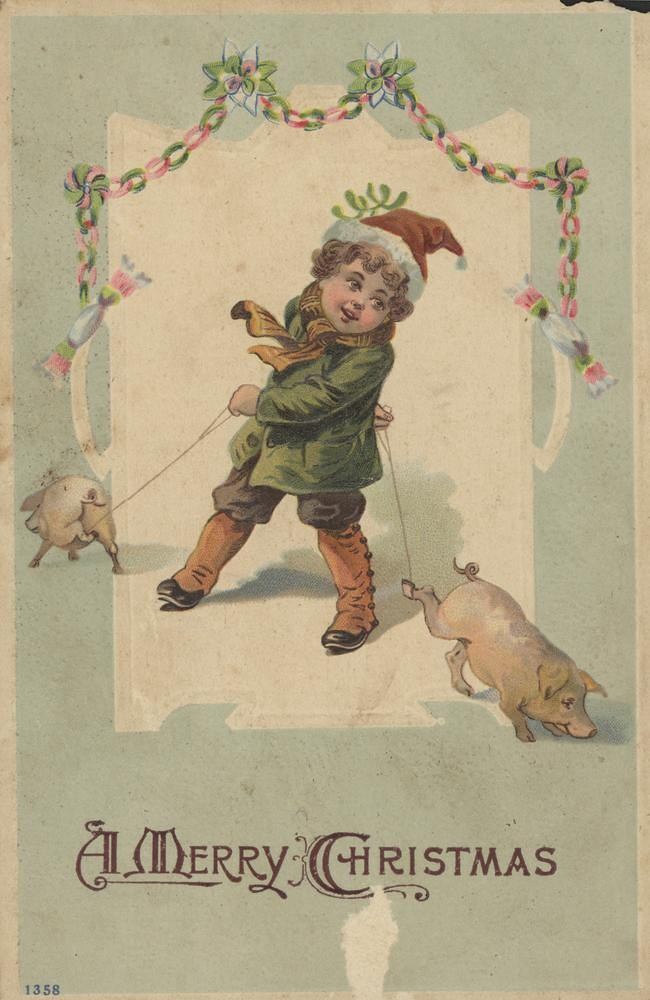 Christmas greeting card featuring small child with two pigs - circa 1920