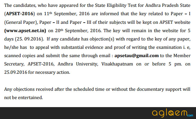 APSET Answer Key 2016 of exam held on 11 Sep 2016