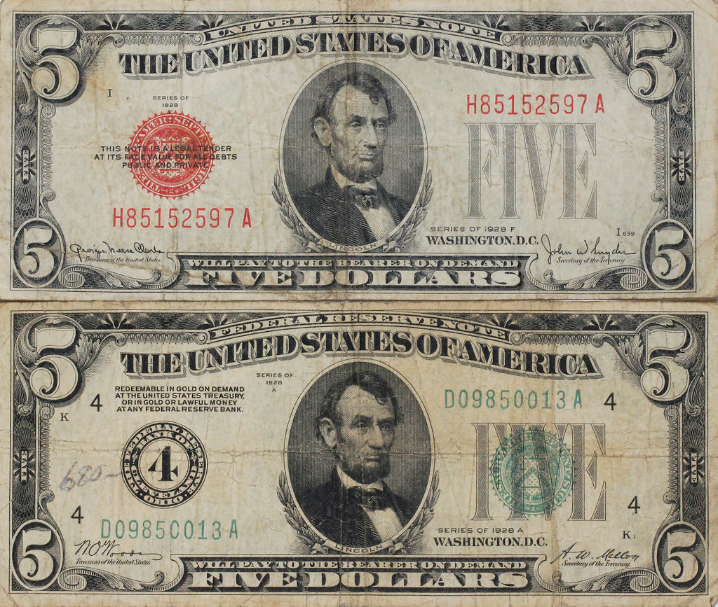 Five Dollar Bills And Their Story