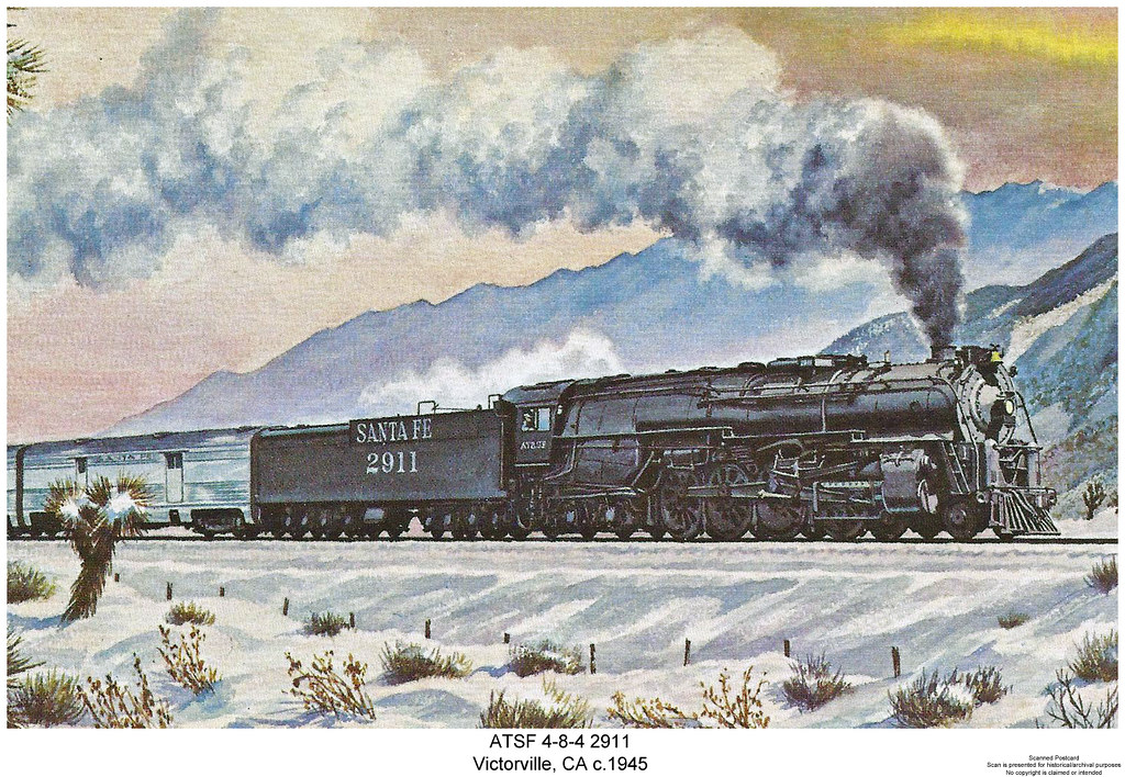 ATSF 4 8 4 2911 Scanned Christmas Postcard Scan Is