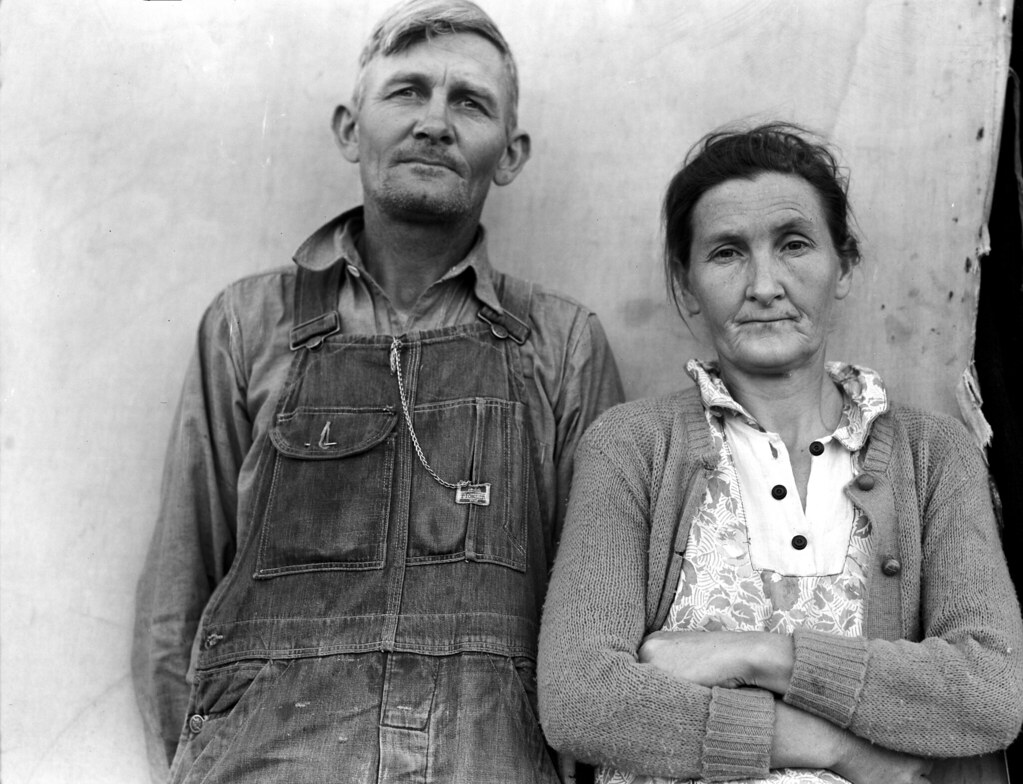 Father and mother of eleven children in Farm Security Administration FSA migratory labor camp at Brawley, Imperial Valley, California. Feb, 1939. Dorothea Lange (photographer)