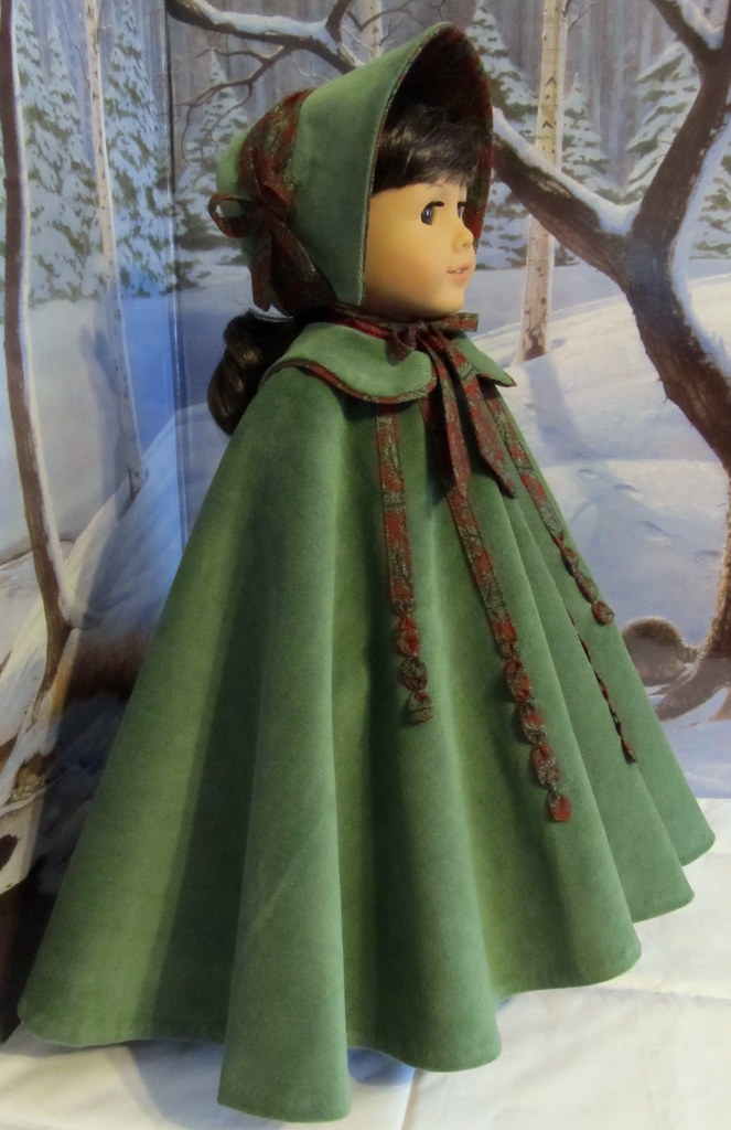 Mid 1800s Full Circle Christmas Cloak and Bonnet  A