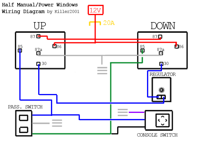 electric window motor wiring diagram 12v 100ah battery charger circuit power switch connection all data gm pinout today 4 pin