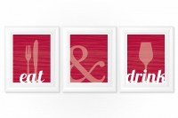 Dining Room Prints Wall Art - EAT & DRINK - Fork Knife Spo ...