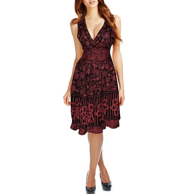 Red Black Floral Cotton Sundress Waist Elasticated