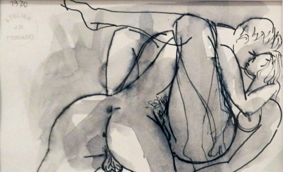 Mujer y hombre desnudos 1970 dibujo a grafito Museo Peinado Ronda Malaga 04