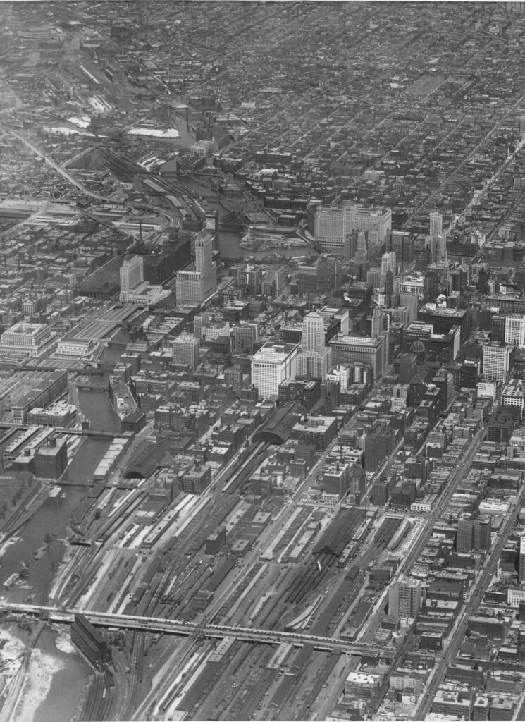 Downtown Chicago from Above 1930  This amazing aerial