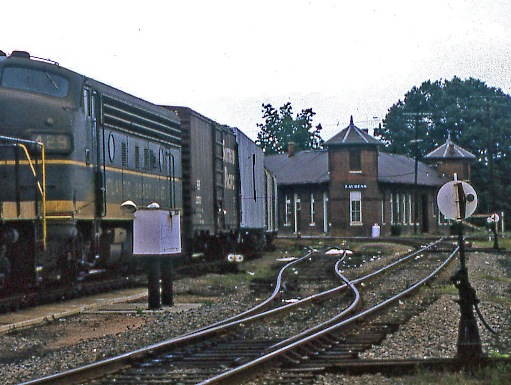 Railroad station in Laurens SC 1966  Columbia Newberry