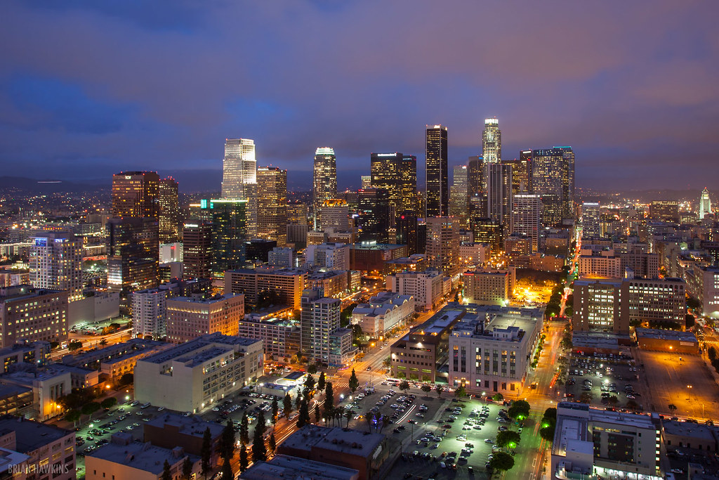 City Glow  Downtown Los Angeles skyline as clouds and