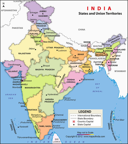 Map India And Surrounding Countries And Seas Mountains Deserts