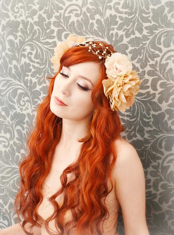 Bohemian Wreath Art Nouveau Head Piece Flapper Flower Cr