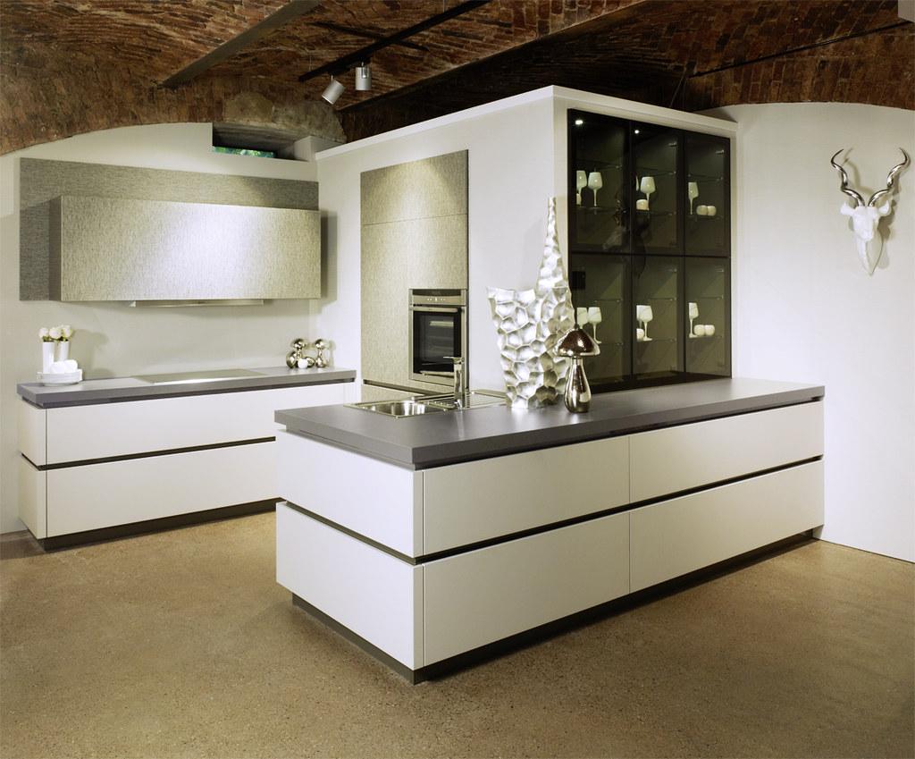 European White Handles Kitchen Cabinets from Bauformat