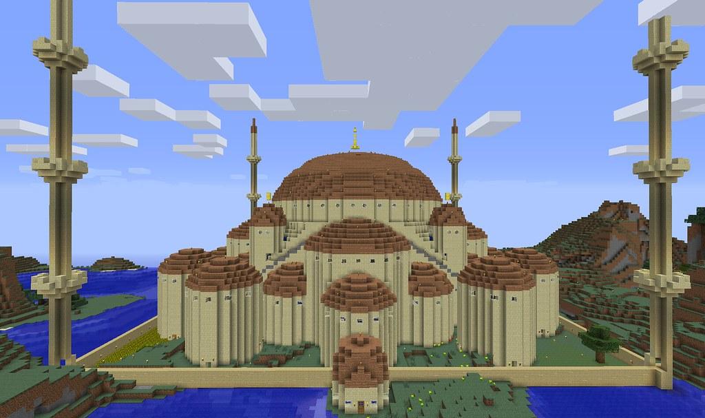 Blue Mosque Minecraft Day SMP Vanilla Besides Optifine