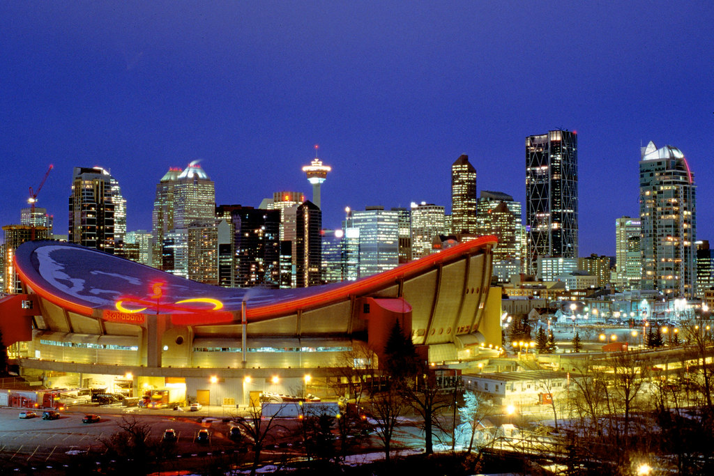Fall Paintings Wallpaper Calgary Downtown At Night Saturated Slide Film Taken On
