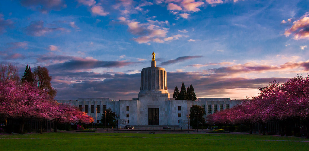 Sunset On The Oregon State Capitol Well Almost A Sunset