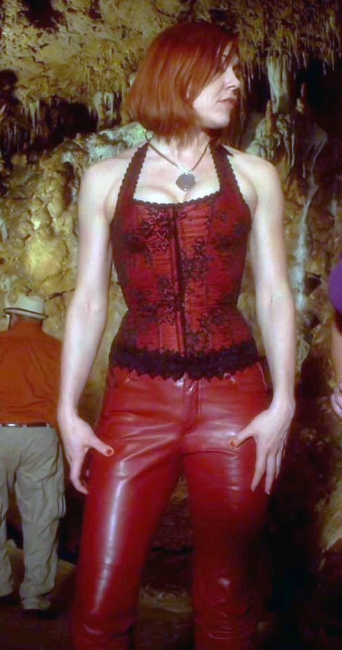 Dominique Swain red leather pants  Dominique Swain red