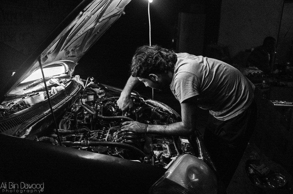 Camera Girl Photography Wallpaper Night Mechanic My Friend Working In His Car Engine Ali