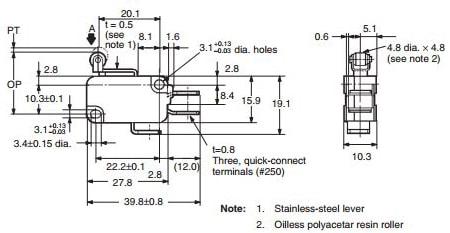 Omron V-155-1C25 SPDT Roller Switch