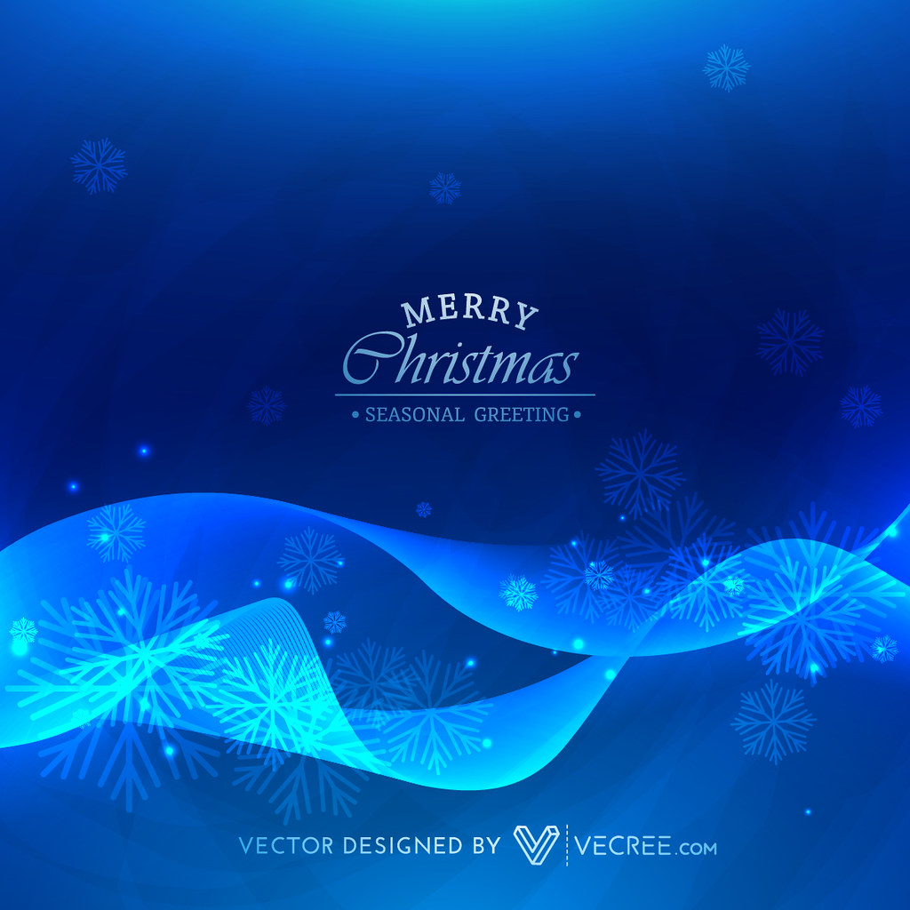Stylish Blue Wave Christmas Season Background Stylish