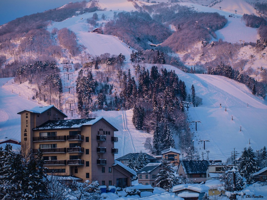 Anime World Wallpaper Ski Resort In The Evening Light Hakuba Japan Winter Japa