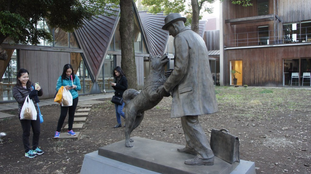 Hachiko and his master reunited