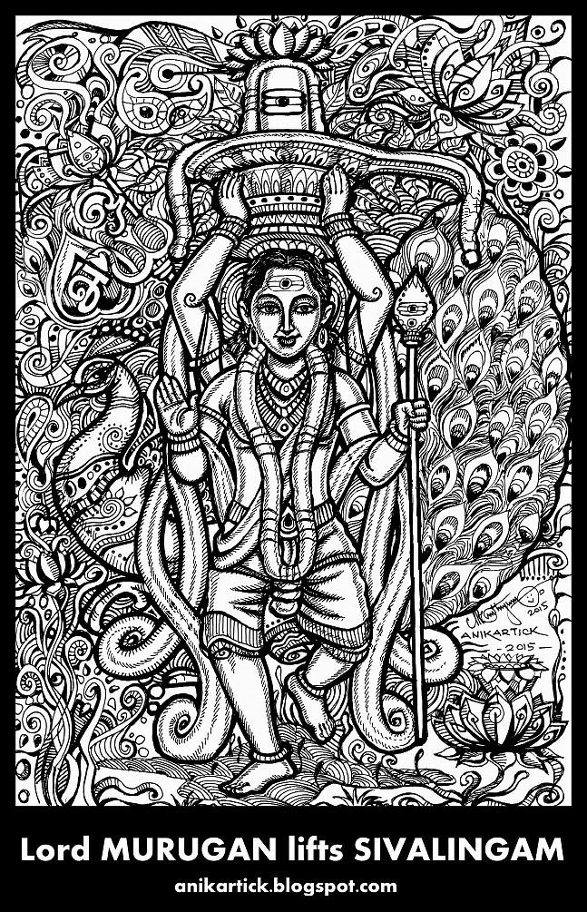 Lord GANESH And Lord MURUGAN Lifts SIVALINGAM Doodle Art