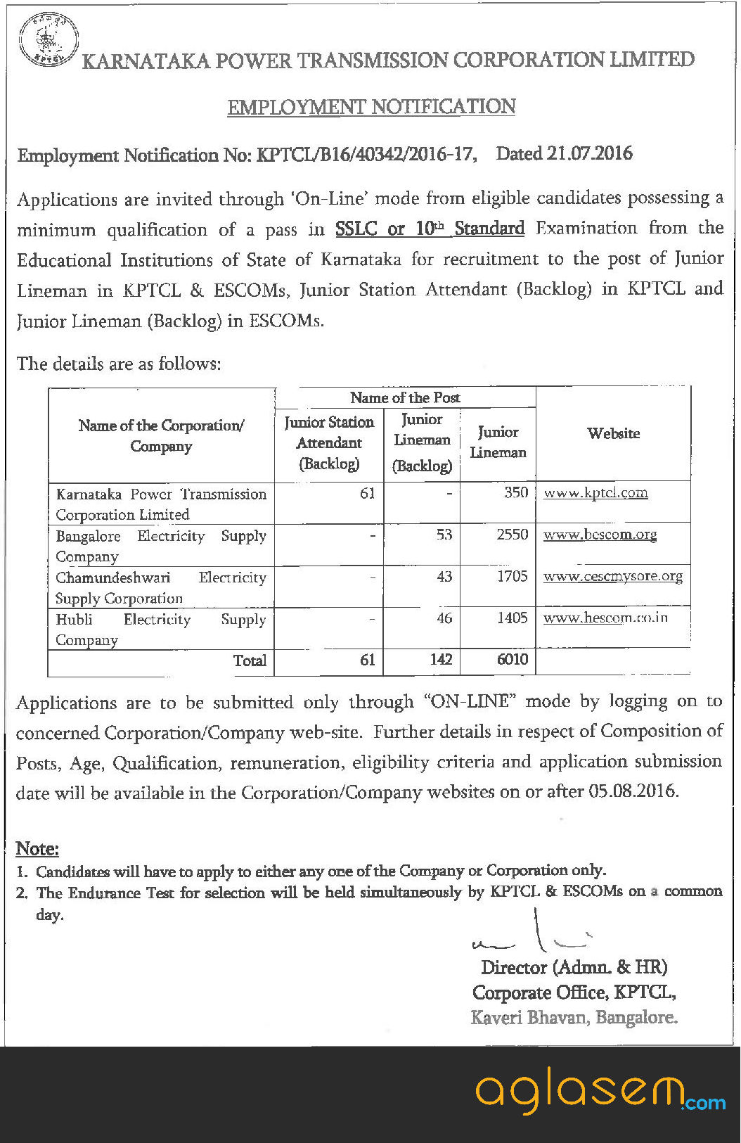 BESCOM JLM Recruitment 2016