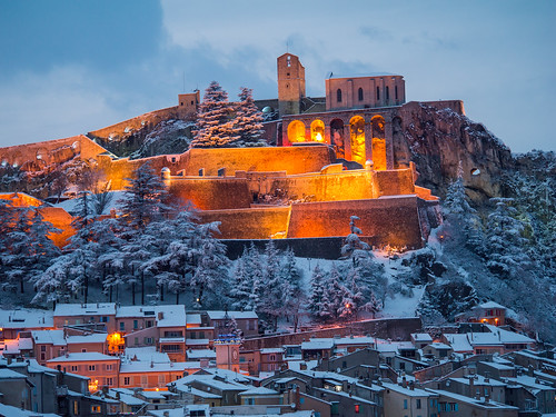 light on the citadelle of sisteron during winter